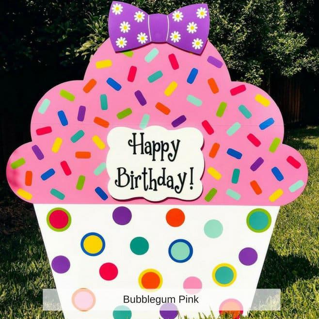 pink cupcake birthday yard sign