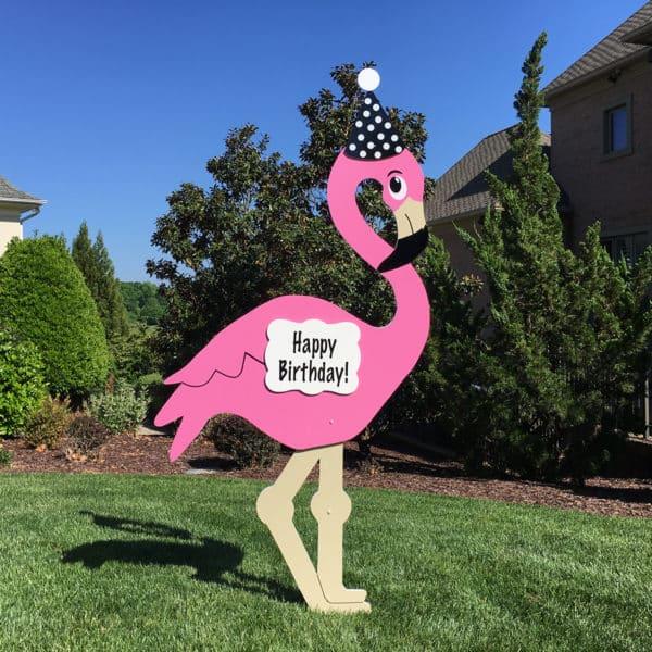 Unique Happy Birthday Yard Sign - Flamingo Signs